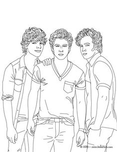 Jonas Brothers Picture Coloring Page More Famous People Sheets On Hellokids