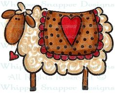 Heart Sheep - Farm - Animals - Rubber Stamps - Shop Wood Craft Patterns, Tole Painting Patterns, Primitive Patterns, Primitive Crafts, Sheep Paintings, Country Paintings, Sheep Crafts, Primitive Painting, Bee Creative