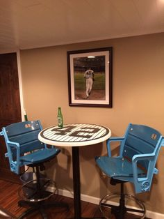 Man Cave Table Man Cave End Table Ideas Man Cave Table Uk Navy Blue Baseball Numbers Pub Tables By Pantsdownshirtscom Decor, Yankee Room, Pub Table, Man Cave Home Bar, Man Cave, Man Cave Bar, Man Room, Woman Cave, Sports Room Man Cave