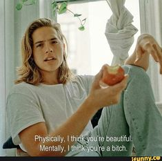 Physically, I think you' re beautiful. Mentally, I think you' re a bitch - iFunny :) Sprouse Bros, Dylan Sprouse, Quote Aesthetic, Aesthetic Pics, Film Quotes, You're Beautiful, Beautiful People, Mood Quotes, Quotes Motivation