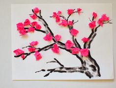 Tissue Paper Cherry Blossom Acrylic Painting