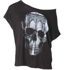 Skull Bridge Tee ❤ liked on Polyvore featuring tops, t-shirts, shirts, blusas, skull t shirts, t shirts, skull tee, skull shirt and shirts & tops