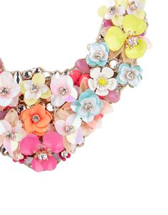 Be in full bloom with our Ellie sequin flower-embellished bib necklace, accented with jewels and crystal gems for glamorous sparkle. This wow'em piece is backed with smooth satin to avoid snagging on your clothes. Adjust the length to suit your neckline. Geek Jewelry, Jewelry Design, Women Jewelry, Jewelry Bracelets, Jewellery, Fashion Bracelets, Fashion Jewelry, Sequin Crafts, Women's Accessories