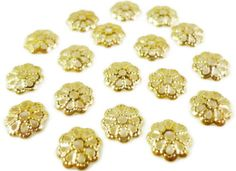 Gold Bead Caps 6.5mm Gold Tone Metal Flower by BusyBeeBeadSupplies, $2.00