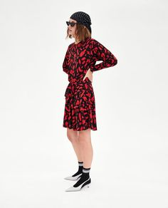 Image 1 of GATHERED PRINTED DRESS from Zara