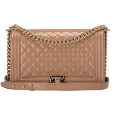 68ee6d8e5240 Chanel Dark Beige Iridescent Calfskin New Medium Boy Bag ($6,915) ❤ liked  on Polyvore