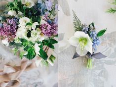 Blue Flowers (Springtime) - By Sarah Winward from Honey of a Thousand Flowers (Hellebore, Hyacinth, Sweet Pea, Ranunculus, Fritillaria, Muscari, Scabiosa, Lilac, and Delphinium)