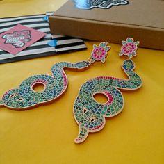 Snake Earrings. Statement Earrings. Traditional tattoo.