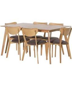 Hygena Riley Oak Veneer Dining Table and 6 Charcoal Chairs.