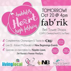 TOMMORW 4-8pm! Come out to @fabrikfortmyers &  help a great cause! enjoy tapa & free champagne by @cru_fl  and BOTOX by @napleslasermedspa  door prizes music  more! #livelocal #fabrik #helpthecause #gopink #thinkpink #tapas #botox #fortmyers #naples #events #swfl