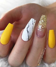 Matte Sunny Yellow, White Marble and Gold Glitter Fade on long Coffin Nails White Coffin Nails, Coffin Nails Long, Summer Acrylic Nails, Best Acrylic Nails, Summer Nails, Acrylic Gel, Cute Acrylic Nail Designs, Nail Art Designs, Nails Design