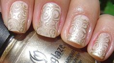 Art for your wedding nails! I would only do an accent nail. Silver instead of gold.