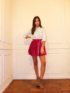 #lookbook #AW #2014 #otoño #invierno #winter #LV #LasVaskas #moda #ropa #fashion #fashionista #mini #pollera #terciopelo #camisa de jean