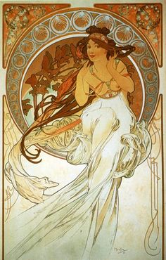 "Music - From ""The Arts"" Series - Color lithograph - Alphonse Mucha - c. 1898"