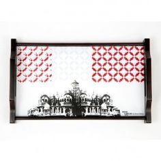 Tamara Grey Palace Tray : This Tamara Dining Tray has a stunning black-and-white sketch of a grand palace, with beautiful red-and-grey colour grids that add more character to the look of the tray. The rectangular tray is available in 3 sizes. It is made of wood and has an elegant, royal shape handle.
