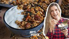 Bestes Knuspermüsli selber machen - Gesundes Granola Rezept vegan Brunch, Paella, Gluten Free, Vegan, Fett, Ethnic Recipes, Youtube, Eat Clean Breakfast, Healthy Food