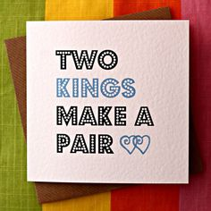 Two Kings - Gay Wedding Card, Gay Commitment Ceremony Card, #lovewins, Gay Love Card, Cheeky Gay Card, Funny Gay Card , Funny Irish Gay Card