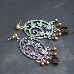 Pewter and Quartz Earrings - Edens Garden. $22.00, via Etsy. #handmade #earrings #jewelry #beaded