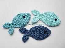Fische Unifarben Blau Aufnäher Patches