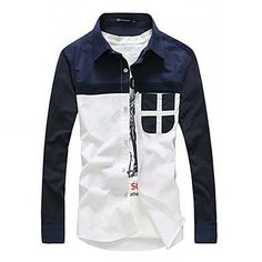 Men'S Contrast Color Casual Long Sleeve Shirt – USD $ 49.99