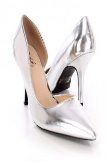Silver Pointed Toe Single Soles Patent Faux Leather