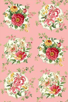 "Charlotte - Garden Cameos - Retro Pink - 24"" x 44"" PANEL"