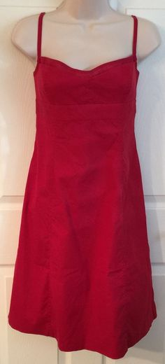 J Crew Red Cotton Stretch Empire Waist Sheath Dress Sz 8 33 Bust | eBay