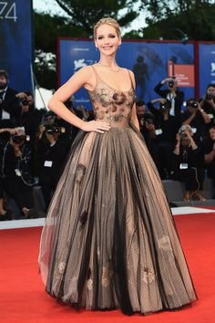 Red carpet #fashion   The best dressed list from the Venice Film Festival   Jennifer Lawrence in grey and pink scoop neck gown by DIor   The Luxe Lookbook