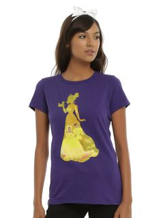 "This purple tee from Disney's <i>The Princess And The Frog </i>has a design inside of a design! The sublimation print top has an image of Tiana and Naveen at their wedding printed inside of a silhouette of Tiana on front. <div><ul><li style=""LIST-STYLE-POSITION: outside !important; LIST-STYLE-TYPE: disc !important"">100% cotton</li><li style=""LIST-STYLE-POSITION: outside !important; LIST-STYLE-TYPE: disc !im..."