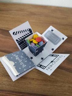 Explosionsbox Kino box for boyfriend Birthday Cards For Boyfriend, Presents For Boyfriend, Present Boyfriend, Boyfriend Boyfriend, Girlfriend Birthday, Birthday Diy, Handmade Birthday Cards, Birthday Quotes, Handmade Cards
