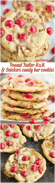Peanut Butter M&M Snickers Cookies are soft and chewy cookies I filled with peanut butter M&M candies and chopped Snickers candy bars. They are the ultimate sugar rush!
