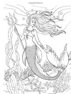Creative Haven Mermaids Coloring Book Adult Barbara Lanza