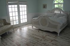 my shabby chic bedroom with painted distressed floors White Painted Wood Floors, Distressing Painted Wood, Distressed Wood Floors, Distressed Furniture, Engineered Wood Floors, Wood Flooring, Kitchen Flooring, Concrete Floors, Aqua Walls