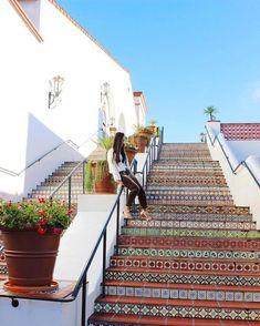 tiled steps at Paseo Nuevo Shops & Restaurants Uc Santa Barbara, Santa Barbara California, Sta Barbara, Visit California, California Travel, Santa Barbara Funk Zone, Solvang California, Montecito California, California Honeymoon
