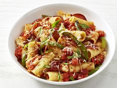 Rigatoni with Pepperoni and Mozzarella recipe from Food Network Kitchen via Food Network - let kids crush the tomatoes by hand in a big bowl Rigatoni, Italian Dishes, Italian Recipes, Italian Foods, Mozzarella, Pasta Recipies, Lotsa Pasta, Pasta Dishes, Pasta Sauces