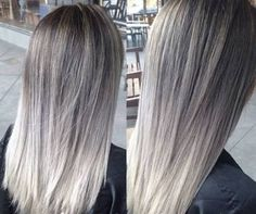 silver ash balayage, looks like my new do Ash Grey Hair, Brown Ombre Hair, Ash Blonde Hair, Ombre Hair Color, Hair Color Balayage, Silver Ash Hair, Ash Ombre, Grey Ombre, Ash Balayage