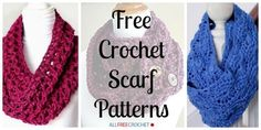 34 Free Crochet Scarf Patterns | From thin and lacy to chunky and bulky, these scarves and cowls are a hit for all seasons!