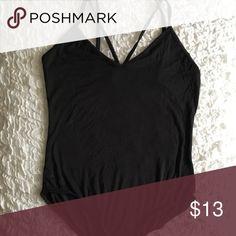 Black Bodysuit Closet basic. Black cotton bodysuit with minimalistic strappy design over chest. Tops