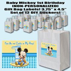 Baby Mickey 1st Birthday THANK YOU 3.75 x 4.5 by PartyOverHereEtsy, $8.99