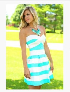 Fashion strapless Striped dress   LK1211BI