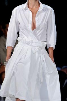 Gathered waist and belt, to reduce skirt size.  Diane von Furstenberg SS 2012