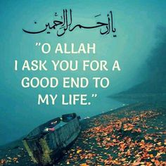 O Allah I ask you for a good end to my life. Islam Religion, Islam Muslim, Islam Quran, Islam Beliefs, Islamic Love Quotes, Islamic Inspirational Quotes, Muslim Quotes, Islam Online, All About Islam