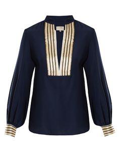 Zeus + Dione Mandarin collar V-neck silk blouse