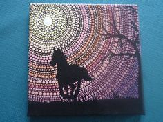 Love birds in the Moonlight - Dot Art - pointillism - acrylic painting - decor - Valentine's day gift Mandela Art, Art Painting, Horse Painting, Dot Art Painting, Mandala Design Art, Rock Painting Art, Painting, Art, Pointillism