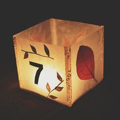 Learn how to make these illuminated table numbers with wax paper, dried leaves and washi tape.