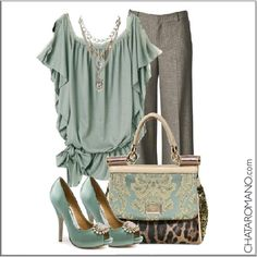 CHATA'S DAILY TIP: Mint green and grey – a soft, pretty, feminine ensemble. Silver strappy sandals can also look divine with this outfit. COPY CREDIT: Chata Romano http://chataromano.com/consultant/chata-romano/ IMAGE CREDIT: What to wear today Facebook page.