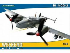 The Eduard Messerschmitt Bf 110G-2 Weekend Edition in 1/72 scale from the plastic aircraft model kits range accurately recreates the real life German heavy fighter aircraft flown during World War II.  This Eduard aircraft model requires paint and glue to complete.