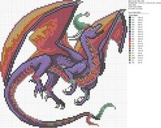 Cross-stitch Dragons by carand88...   Christmas Purple and Orange Dragon by carand88