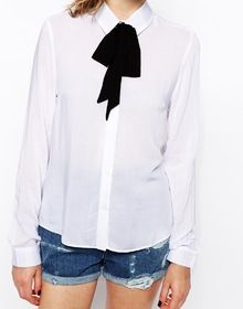 White Tie Neck Long Sleeve Slim Blouse - Sheinside.com