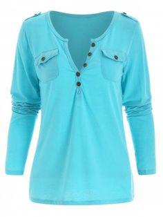 d16016ab66d68 Sexy V-Neck Long Sleeve Slimming Pocket Design Women s T-Shirt